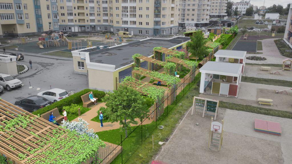 Кроме вертикального, мы использовали и другие формы озеленения.