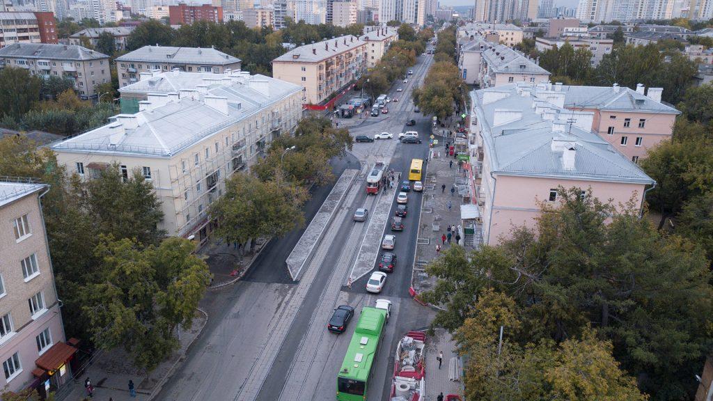Общий вид на новые трамвайные платформы