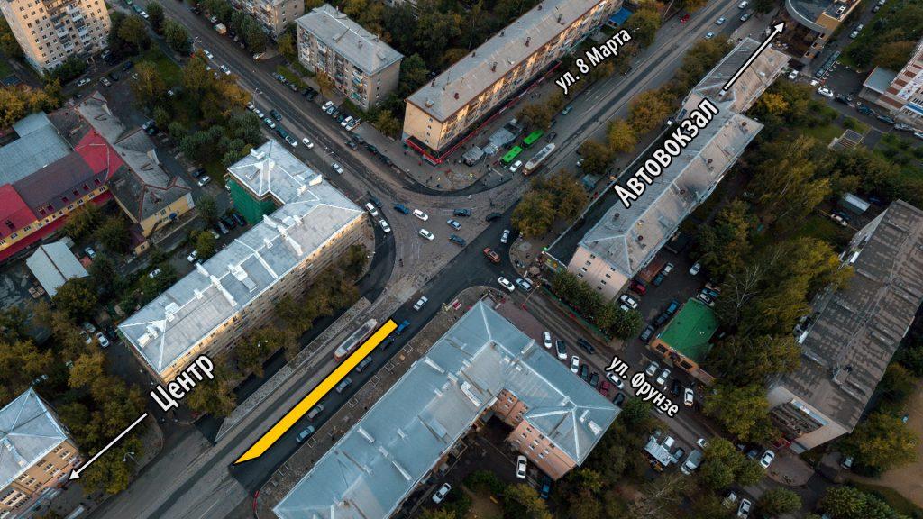 Остановка в сторону автовокзала расположена перед перекрестком, что создает определенные проблемы.