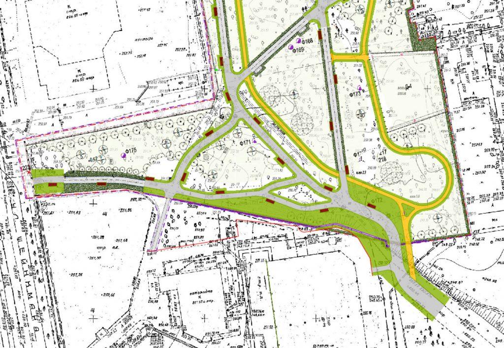 Предлагаемая планировка южной части парка.