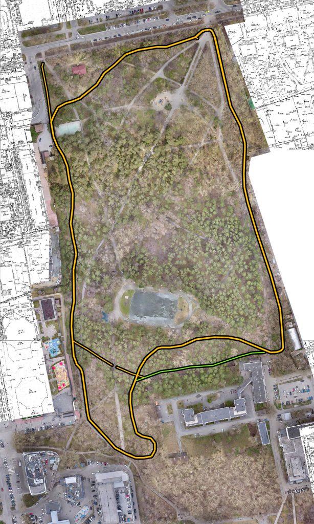 Предлагаемый нами вариант беговой тропы: кольцо длиной 1,5 км.
