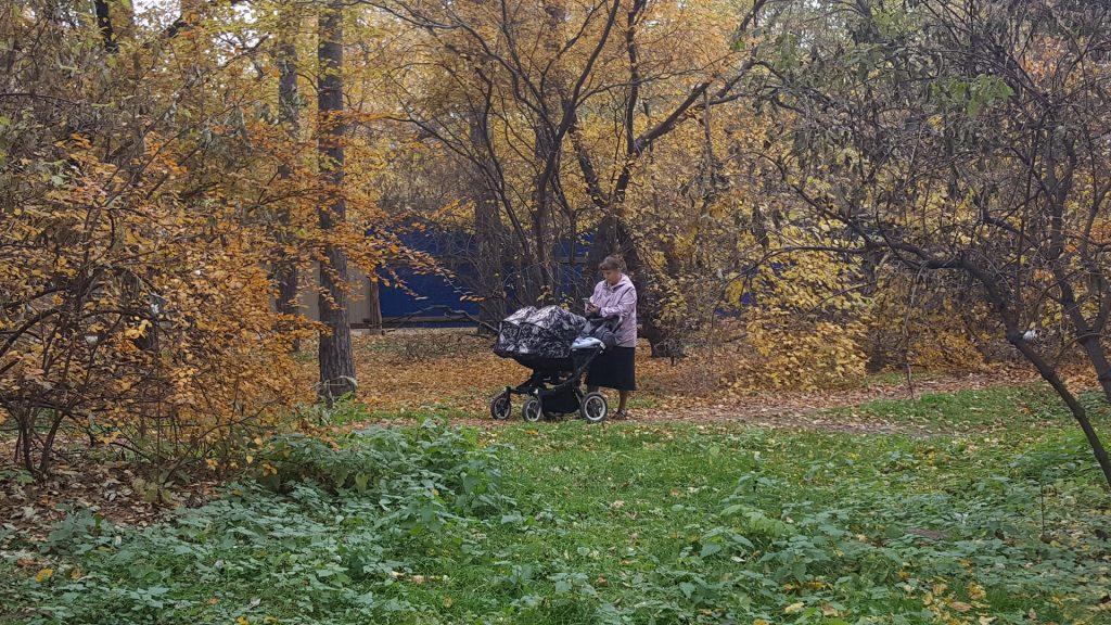 Бабушка гуляет с коляской по грунтовому дублеру диагональной дорожки. Там тише, чем на основной, поэтому дети могут спать.