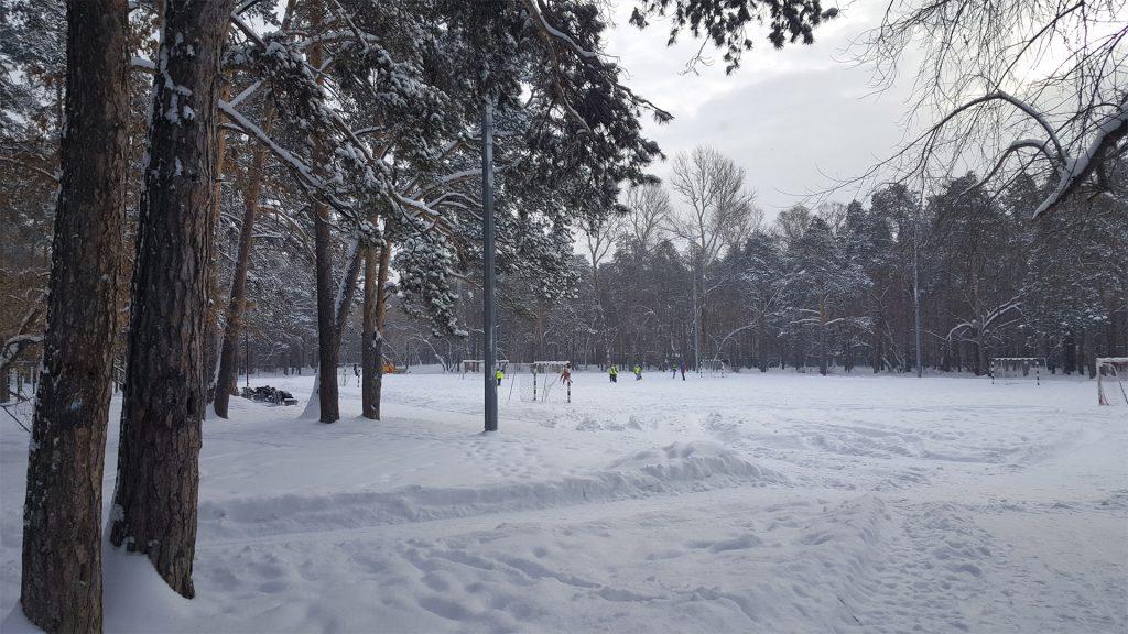 Стадион зимой