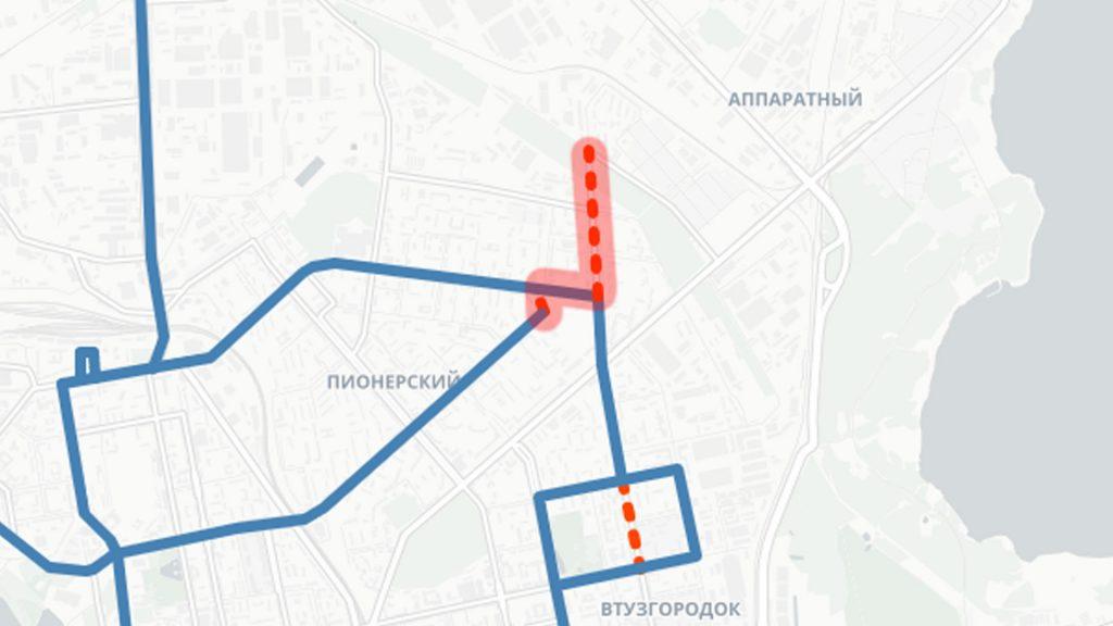 """Продление 4-го троллейбусного маршрута до конечной """"Авангард"""" в Пионерском районе"""