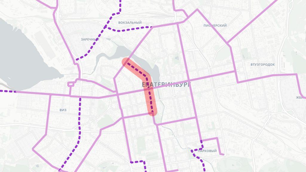Трамвайная линия по улицам 8 Марта и Ельцина между Радищева и Челюскинцев