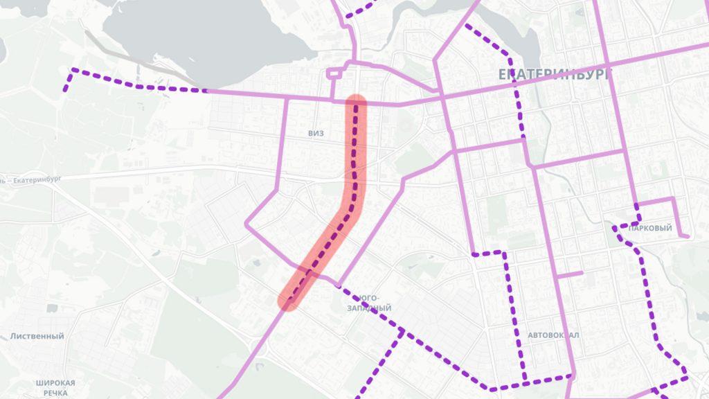 Вторая очередь трамвайной линии в Академический район по улицам Серафимы Дерябиной и Токарей от Бардина до Татищева