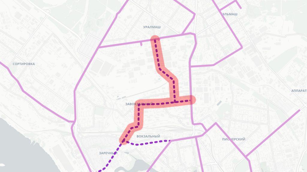 Трамвайные линии в Завокзальном районе и по территории завода Уралмаш
