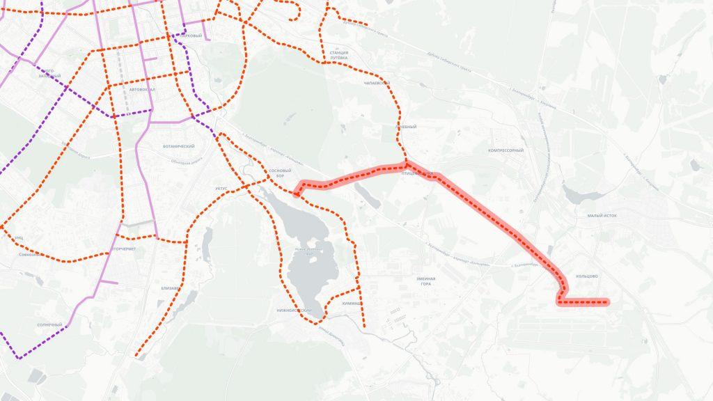 Трамвайная линия в Новокольцовский и Кольцово