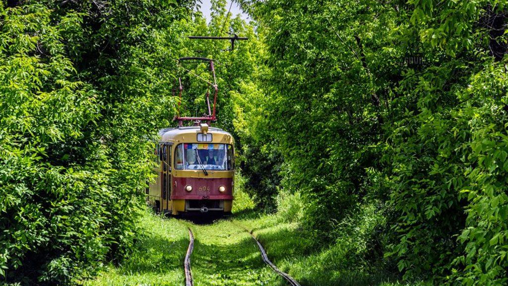 Трамвай №11 движется на Большеконный полуостров.