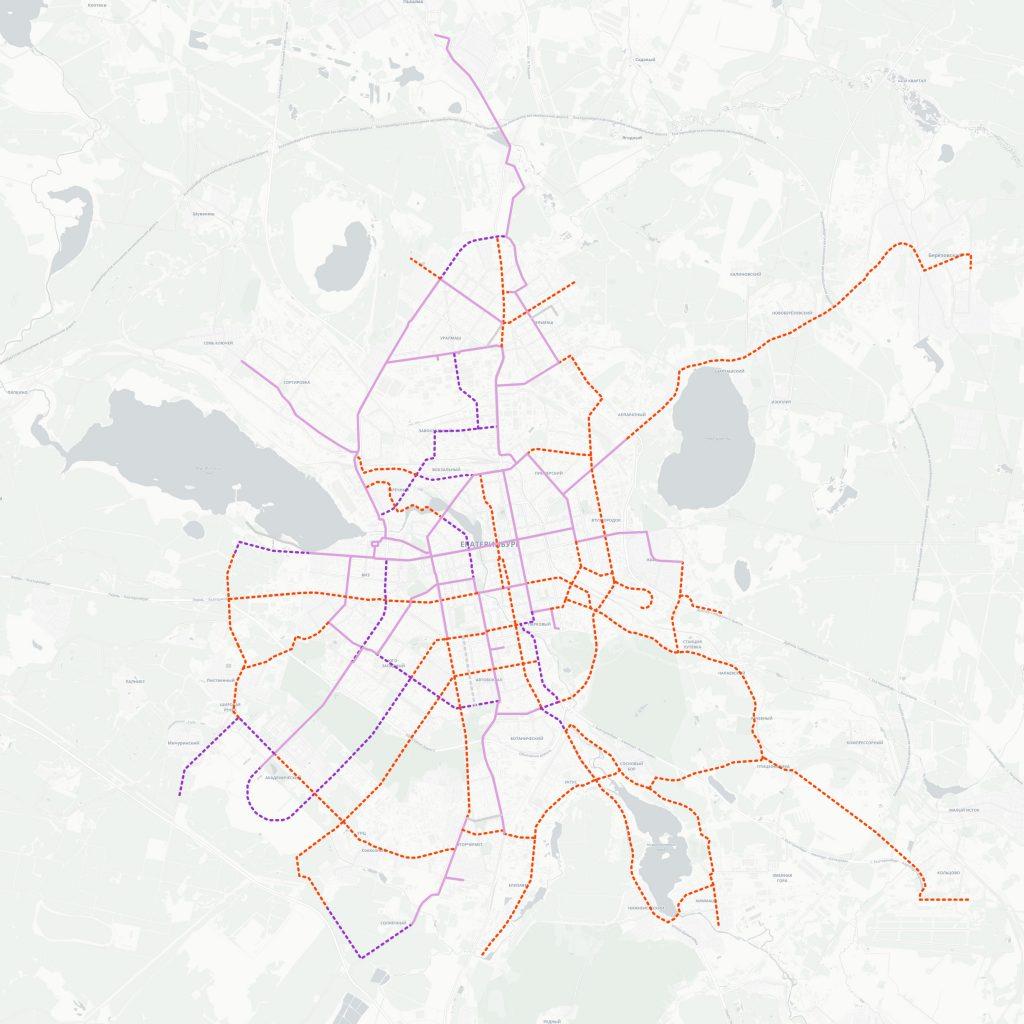 Все предлагаемые новые трамвайные линии.