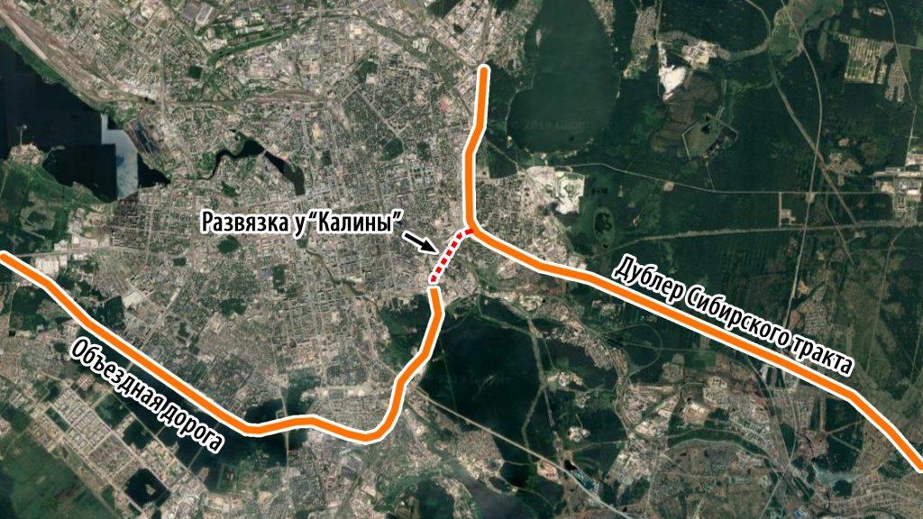"""Две магистрали непрерывного движения - Дублер Сибирского тракта и Объездная дорога - сейчас связаны через узкий путепровод у """"Калины"""" со светофорами по обеим сторонам."""