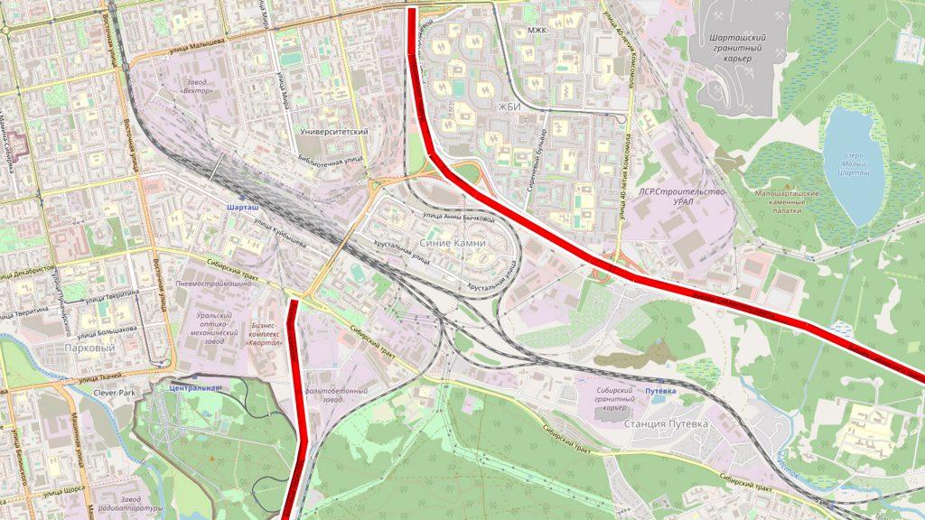 Два контура улично-дорожной сети: 1. Улицы (желтые и оранжевые) 2. Автомагистрали (красные)