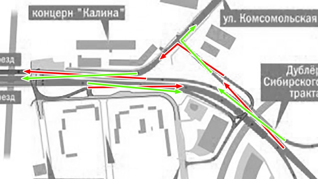 """Узел у """"Калины"""" в проекте страдает множественными пересечениями конфликтующих транспортных потоков."""