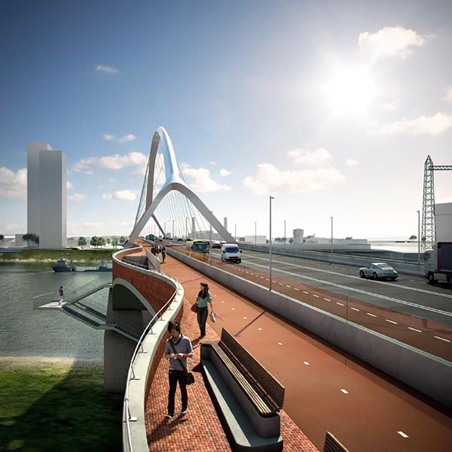 Велосипедная дорожка, присоедиенная к автомобильному путепроводу в Нидерландах.